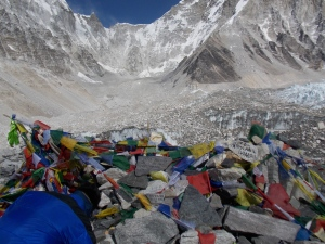 Base camp is a huge area. The only thing that marks it is a pile of rocks covered in prayer flags.