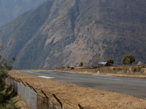 The imfamous Lukla airport. The end of the strip is a vertical drop straight down.